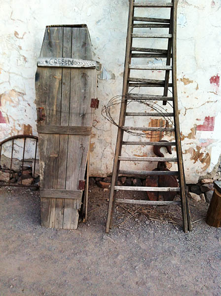 A coffin and a old ladder.  Just right for weird Oatman!