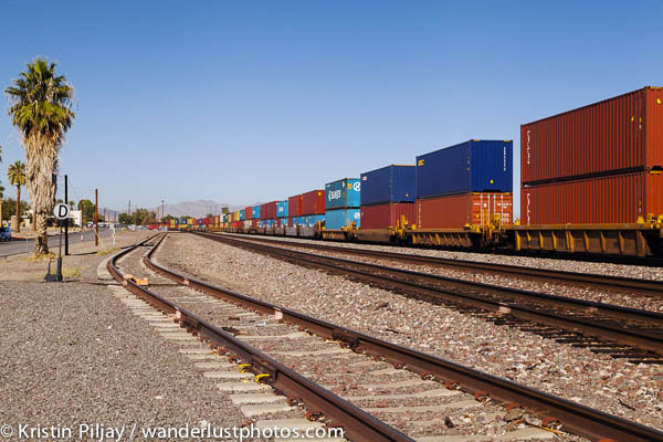Cute, colorful freight train, blue sky and palm trees in Needles, CA